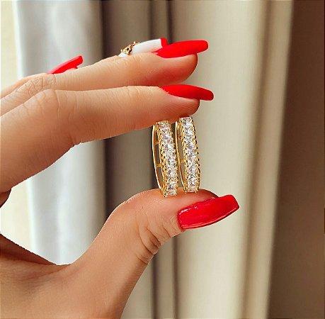 Argola Leblon com Zircônias Diamond Dourado