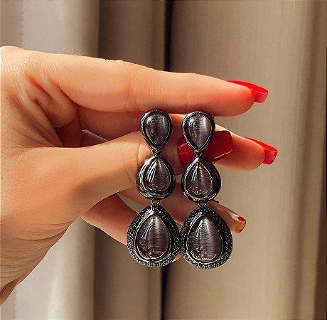 Brinco Luxo Ipanema Madre Pérola Negra e Marcassitas Ródio Negro