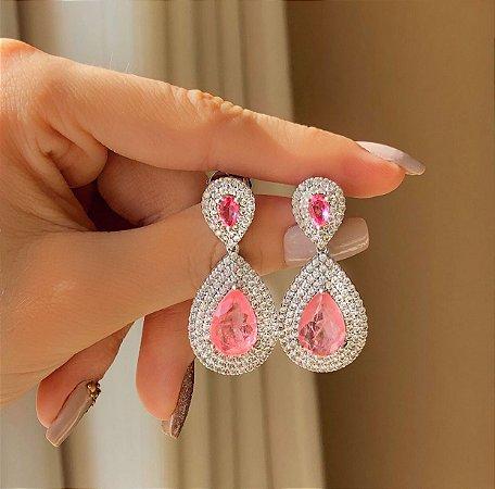 Brinco Luxo Recife Mil Zircônias Diamond e Pedra Fusion Safira Rosa Ródio Branco