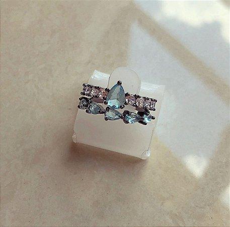 Anel Duplo Pedras Fusion Azul Turquesa e Cravação de Zircônia Diamond Ródio Negro