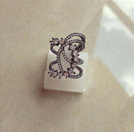 Anel (AJUSTÁVEL) Grande Mil Zircônias Diamond Ródio Negro