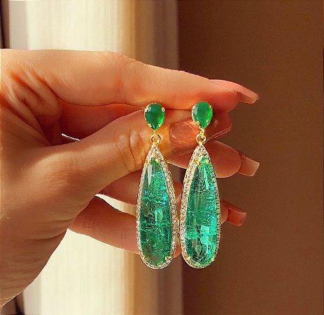 Brinco Marrocos Pedra Fusion Verde Turmalina, Zircônia Leitosa Turmalina e Diamond Dourado