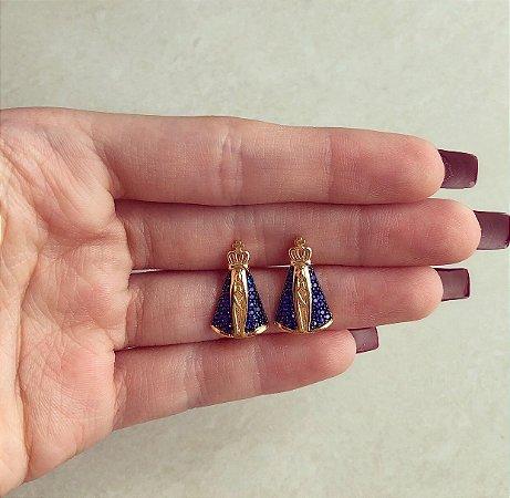 Brinco Nossa Senhora Mil Zircônias Azul Marinho Dourado