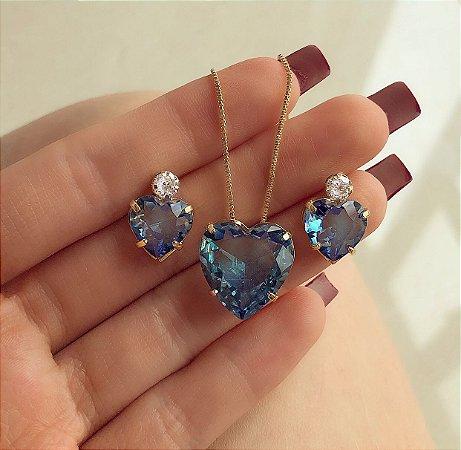 Conjunto Coração Pedra Rainbow Azul com Zircônia Diamond Dourado