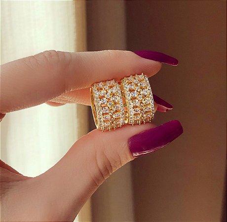 Argolinha Barra da Tijuca Mil Zircônias Diamond Dourado