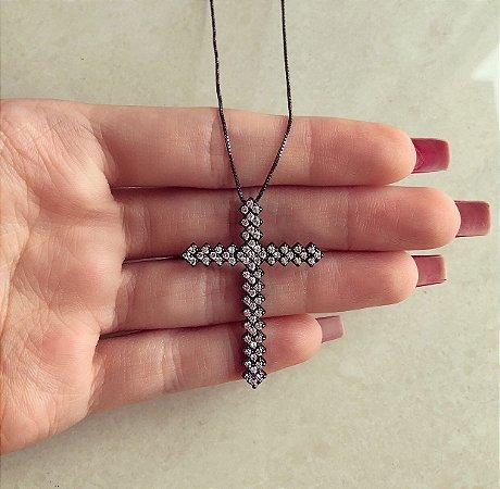 Corrente Cruz Mil Zircônias Diamond Ródio Negro