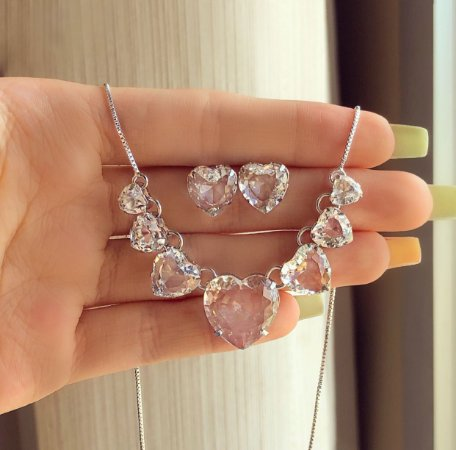 Conjunto Luxuoso Mil Corações de Cristais Diamond Ródio Branco