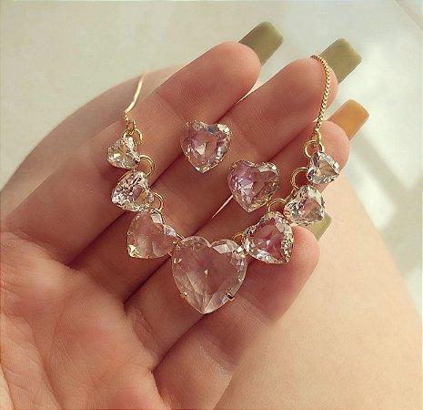 Conjunto Luxuoso Mil Corações de Cristais Diamond Dourado