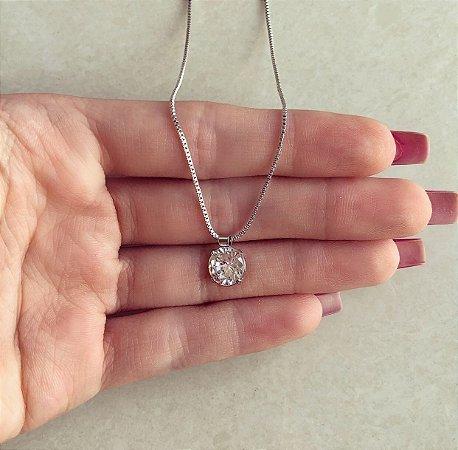 Corrente Ponto de Luz Grande de Maxi Zircônia Diamond Ródio Branco