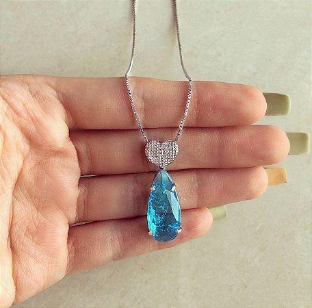 Corrente Coração Craquelado com Gota de Pedra Fusion Azul Topázio Ródio Branco