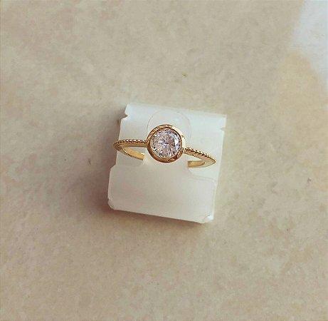 Anel Salinas Redondo Com Zircônia Diamond Dourado