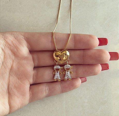 Corrente Coração Filho/Filho com Mil Zircônias Diamond Dourado