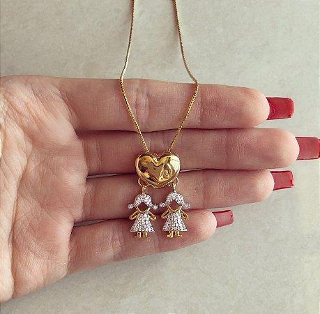 Corrente Coração Filha/Filha com Mil Zircônias Diamond Dourado
