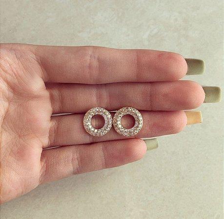 Brinco Redondo Cravação Mil Zircônias Diamond Dourado