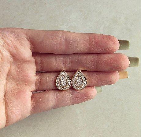 Brinco Gota Duplo Cravação Mil Zircônias Diamond Dourado