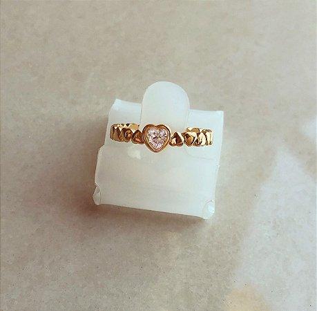 Anel Riviera de Corações com Zircônia Diamond Dourado