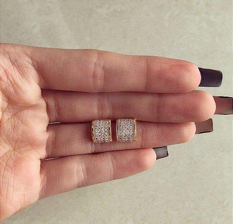 Brinco Meia Argolinha Cravação Micro Zircônias Diamond Dourado