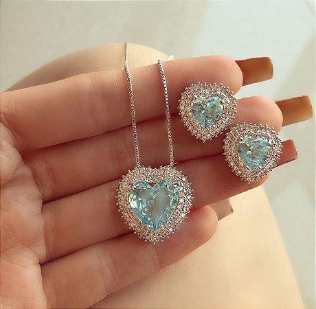 Conjunto Luxuoso Coração Mil Zircônias Diamond e Azul Claro Ródio Branco