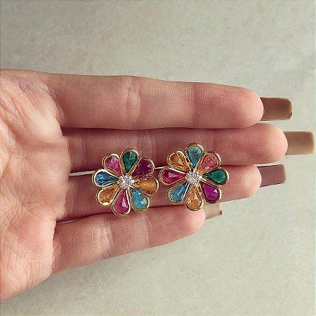 Brinco Maxi Flor Com Cristais Colorido e Diamond Dourado