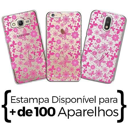 Capinha - Flores E Borboletas Rosa