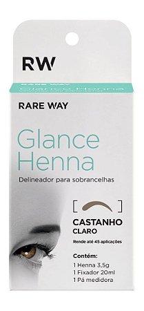 Henna para Design Sobrancelha + Fixador - Castanho Claro - GLANCE HENNA