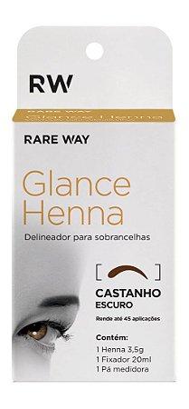 Henna para Design Sobrancelha + Fixador - Castanho Escuro RAREWAY