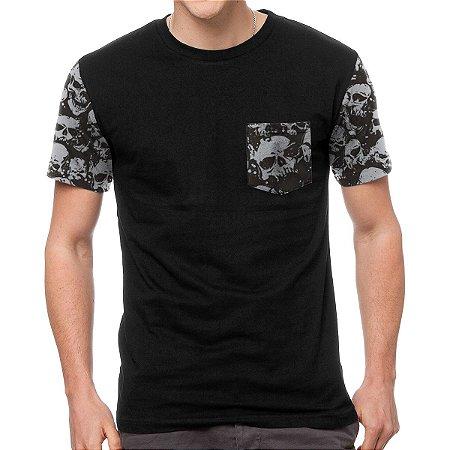 Camiseta - Skull - Manga e Bolso
