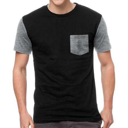 Camiseta - Cinza Claro Mescla - Manga e Bolso
