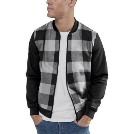 Jaqueta Bomber Chess Clothing Xadrez Preto e Branco