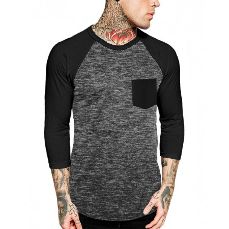 Raglan Manga 3/4 Chess Clothing Pocket Preto
