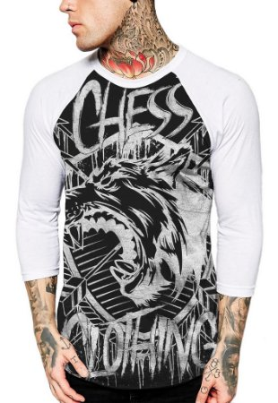Raglan Manga 3/4 Chess Clothing Shield Preto