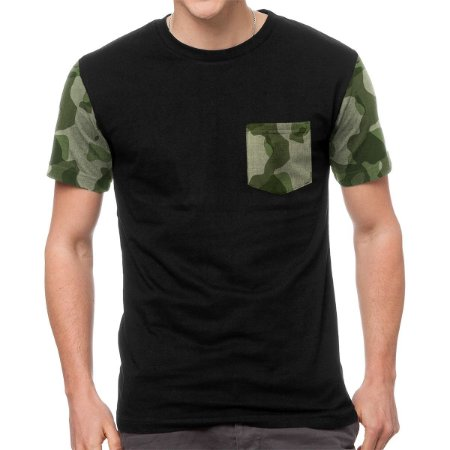 Camiseta Chess Clothing Manga e Bolso Camuflado Verde