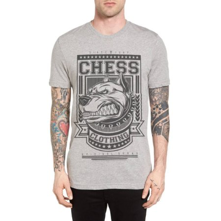 Camiseta Chess Clothing Dog Furious Cinza