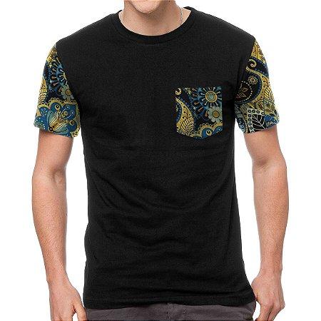 Camiseta Chess Clothing Manga e Bolso Indian Preto