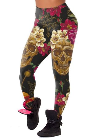 Legging Chess Clothing Skulls Flowers Preta