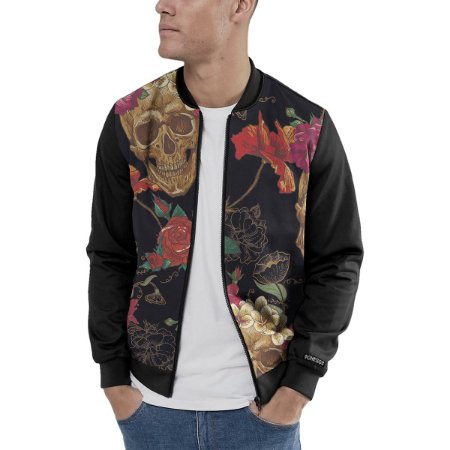 Jaqueta Bomber Chess Clothing Skulls Flowers Preto
