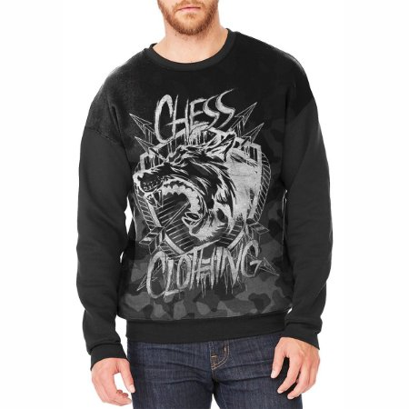 Moletom Careca Chess Clothing Camuflado Cinza