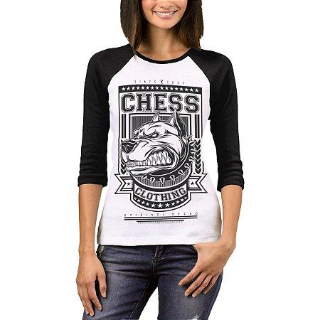 Raglan Manga 3/4 Chess Clothing Dog Branco