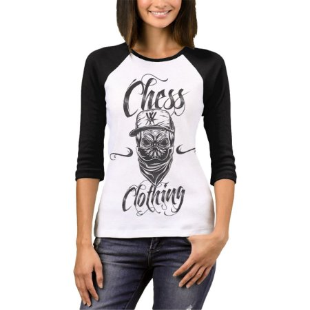 Raglan Manga 3/4 Chess Clothing Killer Branco