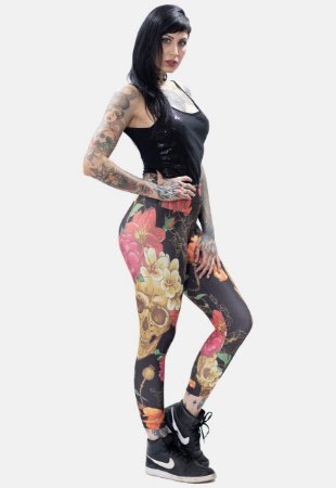Legging Skulls Flowers