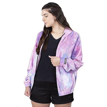 Jaqueta Corta Vento Chess Clothing Feminina Tie Dye Galáxia
