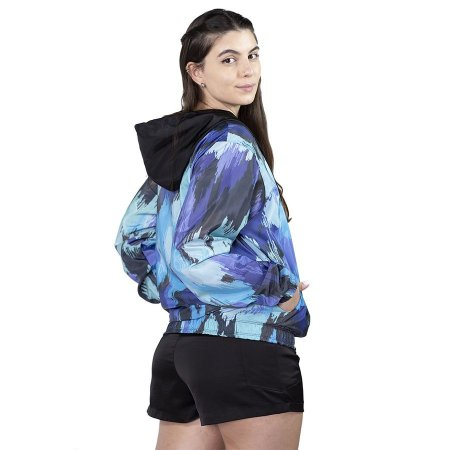 Jaqueta Corta Vento Chess Clothing Feminina Floral Blur