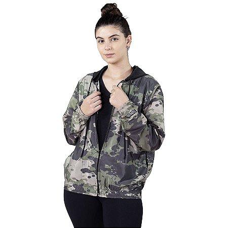 Jaqueta Corta Vento Chess Clothing Feminina Camuflado Exército