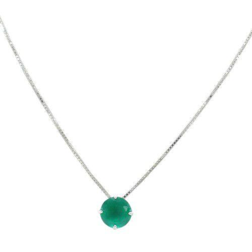 5d7019ce397 Colar Prata 925 Ponto de Luz Redondo P Zircônia Verde Esmeralda ...