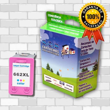 CARTUCHO DE TINTA COMPATÍVEL HP 662XL CZ106AB COLORIDO 10ML