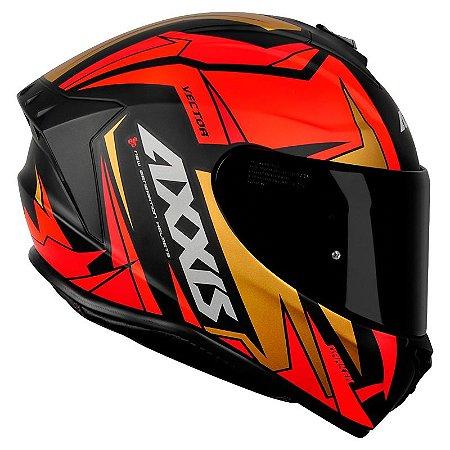 Capacete AXXIS Draken Vector Fosco Preto, Vermelho e Dourado