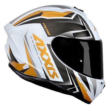 Capacete AXXIS Draken Vector Branco e Dourado