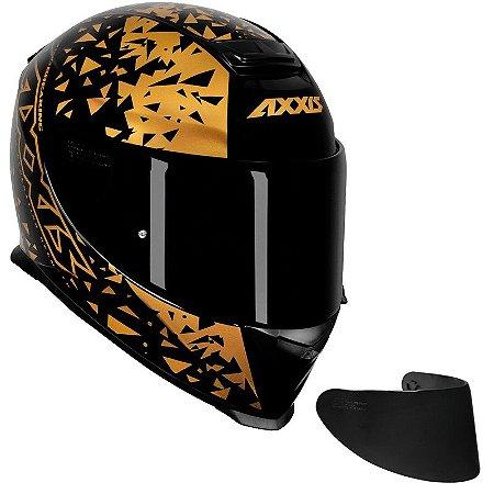 COMBO - Capacete Axxis Eagle Breaking Preto e Dourado