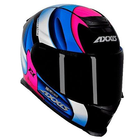 Capacete Axxis Eagle Tecno Preto Gloss Pink e Azul