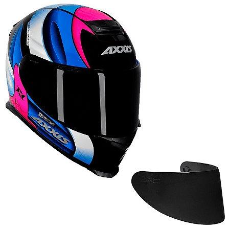 COMBO - Capacete Axxis Eagle Tecno Preto Gloss Pink e Azul